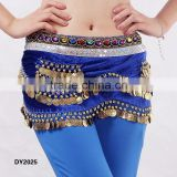 Tribal velvet belly dancing coins hip belt belly dance hip scarf with gems on top