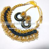 Stylish Black and Gold Necklace with matching earrings, Indian hand crafted Fashion Jewelry