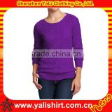 Custom fashion comfort mix size blank o-neck slim fit crochet sweaters models womens wool