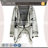 Tasseled geometric patterned long batwing sleeve open front custom knitted cardigan design