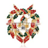 Christmas Garland Brooch Pin Colorful Crystal Christmas Wreath Broach Best Gift for Women