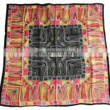 Red Green Black Square Heart-shaped Printed Pure Silk Pashmina