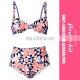 Floral Printed Underwire High Waist Bottom Bikini Set
