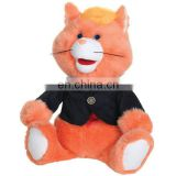 Funny Kids Stuffed Animals Brown Cat Plush Toy With Suits Wholesale Custom Cute Soft Plush Cat