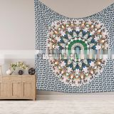 "Indian Beautiful Wall Hanging Hippie Peacock Feather Mandala Tapestry Bohemian Bedspread Dorm Decor 95""X85"" Inch"