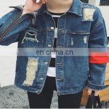 wholesale distressed denim jackets -Customize Your Own Men Winter Embroidered Denim Coaches Fancy