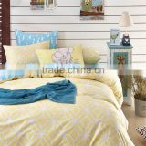 Yello geometric shapes printed cotton comforter cover set with zipper 4 pcs China duvet cover set
