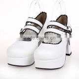 2015 nice Lolita style white round head special girls shoes