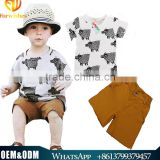 Alibaba Wholesale 2016 Ins Summer new style baby boy fashion 2pcs clothes handsome boy hippo printed T-shirt clothing sets