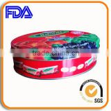 colorful oval sugar candy tin box