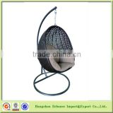 Outdoor indoor furniture swing chair rattan hanging egg chair cheap with stand and cushion