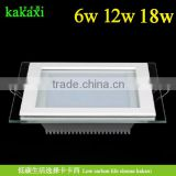 Dimmable 6w 12w 18w Square Glass LED Panel Light SMD 5730 LED Square Kitchen Lamp Indoor Lighting