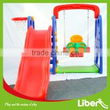 New Outdoor Playground Style Indoor Play Set 3 Functions in 1 Basketball Slide with Single Toddler Swing