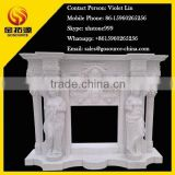 white marble decorative woman stone fireplace