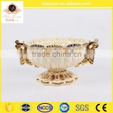 "2016 popular home decorate luxury art and crafts ivory 11""ceramic porcelain bowl vase with gold"