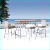 Used outdoor rattan white plastic bistro tables and chair furniture JJB-05TC