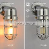 VINTAGE INDUSTRIAL LIGHT ALUMINIUM PENDANT WITH CAGE GLASS SHADE EDISON E27 wall lamp W144(99)