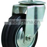 rubber wheel casters, steel rim, industrial caster wheel, screw stem