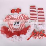 2015 children Chrismas baby summer tutu lace jumpsuit headbands shoes and leg warmer sets ( 4 in 1)