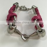 2016 Equestrian Horse Harness Snaffle Bits Alloy Jewelry Red Rose Braided Leather Bracelets