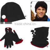 promotional customized man's superfine polar fleece hat,scarf,glove set with printing logo