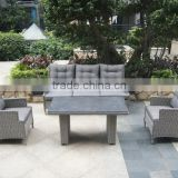 grey rattan stone glass garden outdoor sofa set, aluminum frame garden outdoor furniture, patio rattan 4 pcs sofa set