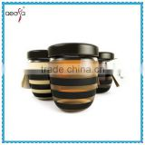 2016 latest stripe black lid glass honey jar                                                                         Quality Choice