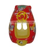 safety cartoon printing inflatable kids float baby boat with steering wheel in red