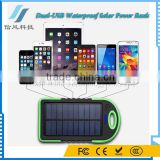 Dual USB Solor Charger 8000mAh Solar Power Bank Waterproof for iPhone for iPad for Android Phone