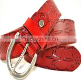 hot sell high quality genuine cowhide leather with pattern design lady belts manufacturers