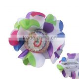 colorful satin and net flower hair pin with crochet flower