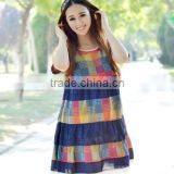 Hot sale summer big size cotton and linen pregnant women dress, fashionable round collar maternity clothes