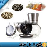 Glass Round Body, Adjustable Ceramic Rotor ,Stainless Steel Salt And Pepper Grinder Set ,Spice Grinder