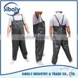 cheap durable waterproof thick pvc sheet coated polyester knitted fabric backing OEM men fishing bib pants
