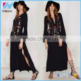 Yihao 2017 Woman Long Dress Sexy Deep V-Neck Black Hippie chic Embroidery long sleeve maxi Dresses with Slit women clothing
