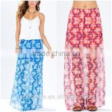 Sexy beach wear tie-dye print maxi skirt chiffon belly dance arabic sexy dance long skirt 2015