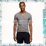 New Style Mens Best Organic Grey Cotton Muscle Fit V Neck T-Shirts Tops Apparel Suppliers