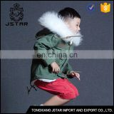 Latest design baby faux fur trim jacket parka coat with big fur collar