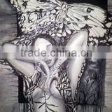 Factory price high quality hand painted dark color abstract nude sexy oil painting imagines