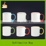 11oz sublimation coating liquid mugs,digital sublimation mug heat press (ce approved) with color rim and handle