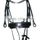 Snaffle Bridle Wave Stone Browband & Swidish Wider Padded Noseband with Rolled Reins (GNG)