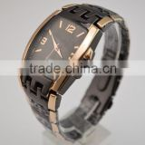 Cool two tone alloy men watch set china bridge shaped metal watches men by China factory supplied
