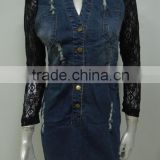 New arrival winter fashion high quality ladies denim dress,denim and lace dress wholesale China