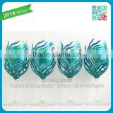 Hot sales Peacock Feather Wine Glass with Silver or Gold Accents Set of 4 Hand Painted Peacock glass wine hand painted