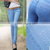 Thin jeans ladies 2015 new summer stretch slim slim light blue skinny pants