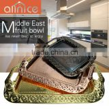 Hot selling plated copper rosy gold tray with handle/ middle east serving tray / serving dish with handles