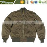 Wholesale men plain custom made varsity 100% polyester ma-1 quilted bomber flight jacket