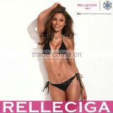 The Shape of Sexy - RELLECIGA Black Simply Stunning Triangle Top Bikini Set with Golden Hardware Rings