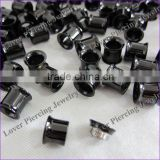 Black Anodized High Polish Stainless Steel Ear Flesh Tunnel Plug Piercing Jewelry [AS-649B]