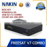 Freesat V7 Combo hd satellite receiver support PowerVu ,DRE & Biss key usb wifi cccam